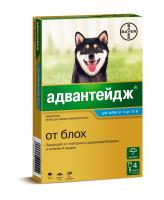 Адвантейдж капли для собак весом 4-10кг от блох 4 пипетки
