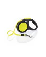 FLEXI New Neon S 5м до 15кг ременной поводок-рулетка для собак