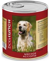 Дог Ланч консервы для собак  Мясное ассорти в желе 750г