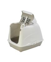 Туалет-домик для кошек Moderna Cat с угольным фильтром и совком, 50х39х37см, теплый серый