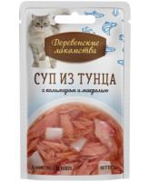 Деревенские лакомства Консервы для кошек Суп из тунца с кальмаром и макрелью 35г пауч