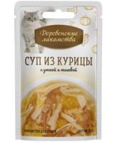 Деревенские лакомства Консервы для кошек Суп из курицы с уткой и тыквой 35г пауч
