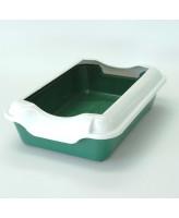 Туалет для кошек Homecat с бортиком 37х27х11,5см, зеленый