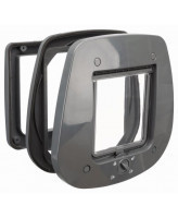 Trixie Дверца для кошки 4-Way для стеклянных дверей, 27 х 26 см, серая
