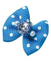 V.I.Pet Бантик (пара) голубой в белый горошек (цветок+жемчуг) 2шт