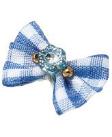 V.I.Pet Бантик (пара) голубой в белый квадратик с голубым камнем 2шт