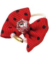 V.I.Pet Бантик (пара) красный в черный горох (камень звезда+бусина) 2шт