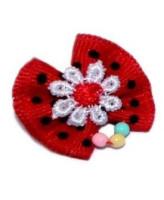 V.I.Pet Бантик (пара) красный в черный горошек с белым цветком+бусинки 2шт