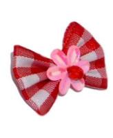 V.I.Pet Бантик (пара) красный с белыми квадратами с розовым цветком 2шт