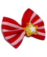 V.I.Pet Бантик (пара) красный с розовыми полосками (камень - звезда) 2шт
