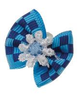 V.I.Pet Бантик (пара) синий с голубыми квадратиками (синий цветок) 2шт