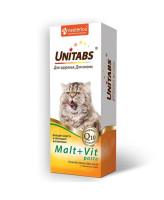 Unitabs Malt+Vit Паста для вывода шерсти из желудка  для кошек с таурином 120 мл