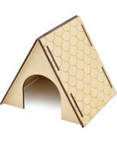 Zooexpress Домик для грызунов Черепица, крыша до пола, фанера 16*13*13 см
