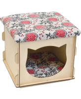 Zooexpress Комплекс Куб с крышкой фанера+лён 34*34*30 см
