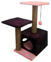 Домик-когтеточка Zooexpress Куб 2 полки 2 входа, мех однотонный, джут 45*55*76 см