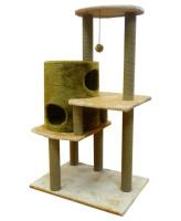 Домик-когтеточка Zooexpress Цилиндр многоуровневый 8 когтеточек, мех однотонный, джут  50*80*144 см