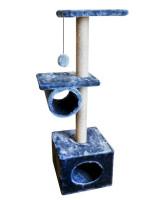 """Домик-когтеточка Zooexpress Куб 2 полки с трубой, мех с  рисунком """"Скандинавия"""", джут 40*40*110 см"""