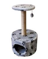 "Домик-когтеточка Zooexpress Цилиндр с полкой, мех с рисунком ""Лапки"", джут 42*42*72 см"