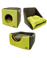 """Zooexpress Дом куб-трансформер """"Ампир"""" мебельная ткань, оливковый/зеленый"""
