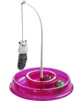 Игрушка для кошек Лабиринт круглый с двумя мячиками и дразнилкой 28*5*28см №1