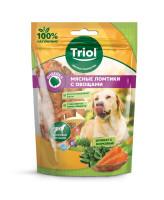 Triol Лакомство для собак Мясные ломтики из индейки с морковью и шпинатом 70г