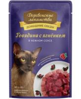Деревенские лакомства Консервы для кошек Говядина с ягнёнком в нежном соусе, 85г пауч