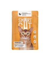 Smart Cat консервы для кошек и котят Кусочки курочки с морковью в нежном соусе, 85г пауч