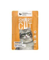 Smart Cat консервы для кошек и котят Кусочки курочки со шпинатом в нежном соусе, 85г пауч