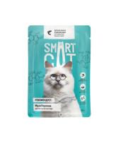 Smart Cat консервы для кошек и котят Кусочки лосося в нежном соусе, 85г пауч