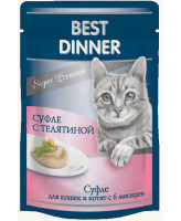 """Best Dinner Мясные деликатесы  """"Суфле с телятиной"""" для кошек и котят с 6 месяцев 85г пауч"""