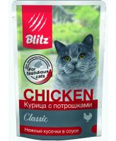 BLITZ Консервы для кошек Курица с потрошками, кусочки в соусе 85г