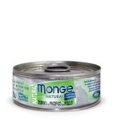 Monge Cat Natural консервы для кошек тихоокеанский тунец с курицей 80г банка