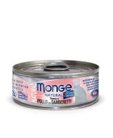 Monge Cat Natural консервы для кошек тунец с курицей и креветками 80г банка