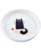 КерамикАрт Миска керамическая для кошек 210 мл белая с кошкой