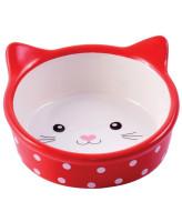 КерамикАрт Миска керамическая для кошек 250 мл Мордочка кошки красная в горошек