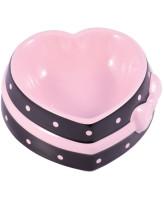 КерамикАрт Миска керамическая для собак и кошек Сердечко 250 мл коричневая с розовым бантом