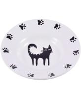 КерамикАрт Миска керамическая - блюдце для кошек 140 мл белая