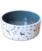 КерамикАрт Миска керамическая для собак с рисунком, серая