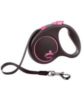 FLEXI Black Design ременной поводок-рулетка для собак, розовый