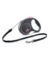 FLEXI Black Design тросовый поводок-рулетка для собак, розовый