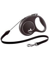 FLEXI Black Design тросовый поводок-рулетка для собак, серебро