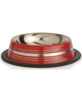 Beeztees Миска стальная нескользящая красная в полосочку 180мл*11см