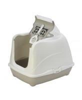 Туалет-домик для кошек Moderna Cat с угольным фильтром и совком, 57х44х41см, теплый серый