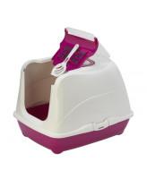 Туалет-домик для кошек Moderna Cat с угольным фильтром и совком, 57х44х41см, ярко-розовый