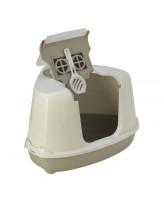 Туалет-домик для кошек Moderna Flip угловой с угольным фильтром и совком, 55х45х38см, теплый серый