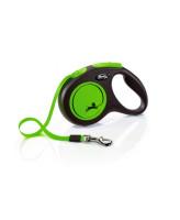 FLEXI New Neon ременной поводок-рулетка для собак, зеленый